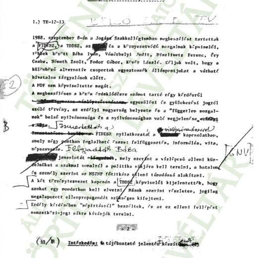 JELENTÉS A JOGÁSZ SZAKKOLLÉGIUMBAN 1988.09.08-ÁN TARTOTT MEGBESZÉLÉSRŐL