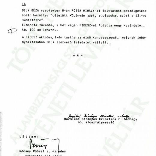 JELENTÉS A SZERVEZÉSRŐL 1988.09.08.