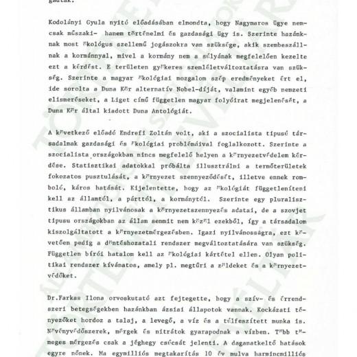 AZ MDF ESZTERGOMI KÖRNYEZETVÉDELMI 1988.09.10-I TANÁCSKOZÁSA