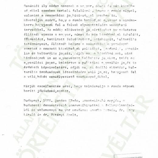 Az átadott memorandum szövege
