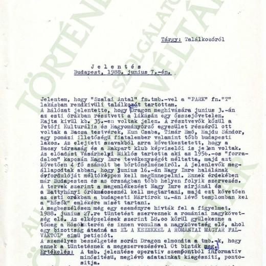 """""""Szalai Antal"""" fn. ügynök jelentése, 1988. június 7."""