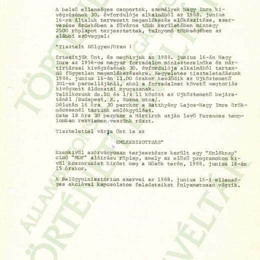 MSZMP PB részére tájékoztató, 1988. június 15.