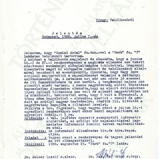 """""""Szalai Antal"""" fn. ügynök jelentése, 1988. július 7."""
